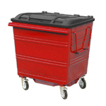 A red four wheeled bin in use