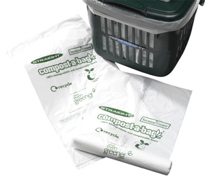 Compostable liners next to a vented kitchen caddy