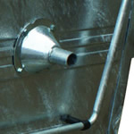 A silver funnel fitted to the side of a silver four wheeled bin to aid lifting equipment