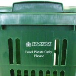 A food waste logo printed directly onto the caddy for a customer