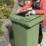 Wheeled Bin Paper Aperture with Rain Hood in use