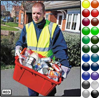 A coucil worker in a high vision vest carrying a red kerbside box thats full of recycled material
