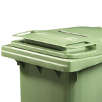 A close up of a green wheelie bin