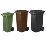 Three different coloured wheelie bins next to each other. Shown in green, brown and black