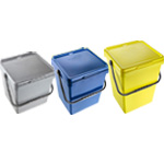 Three different EcoCaddy sizes available, shown in grey blue and yellow