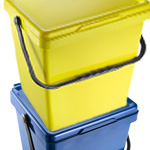 A yellow EcoCaddy stacked on top of a blue EcoCaddy
