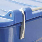 A large metal hinge connecting the base to the lid on a blue four wheeled bin