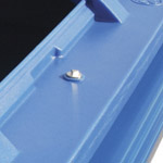 Lock on the top of a blue four wheeled bin