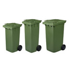 Three green wheelie bins next to each other in three different sizes
