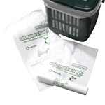 Compost-a-bag caddy liner next to a five litre kitchen caddy