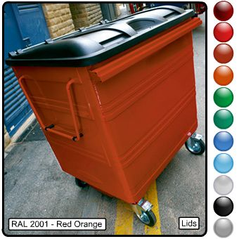 A red four wheeled bin on a road