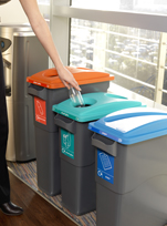 EcoSort recycling bins in use