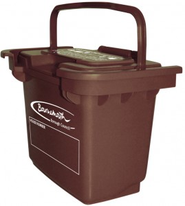 A brown food waste inner caddy