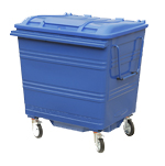 A blue four wheeled bin on a white background