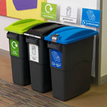 Three EcoSort office recycling bins next to each other
