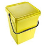 A large yellow caddy for food waste