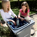 Mother and daughter sorting recycling