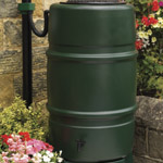 A green barrel shaped water butt in a garden