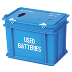 A blue box with two small hole in its lid and used batteries written on its side