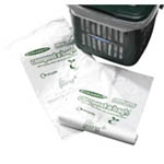 Compostable liners next to a kitchen caddy
