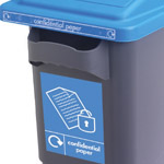 Large graphics displaying a secure paper sign on the front of an EcoSort office bin