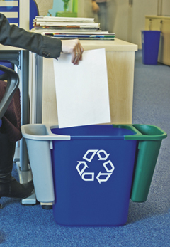A workplace bin with three separate compartments