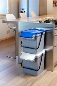Two EcoCaddy's placed on top of each other in a kitchen