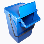 A large blue caddy with a black handle and easy access lid