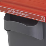 Strong handles on a secure EcoSort office bin