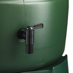 A black tap on a green Harcostar Water Barrel