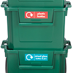 Apertures on the front of the boxes allow easy access deposit waste even when stacked