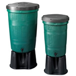Two Garden Lake branded water butts next to each other ona white background
