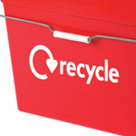 Recycle graphic on the side of a hazardous waste box