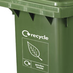 Custom graphics on the front of a green wheelie bin