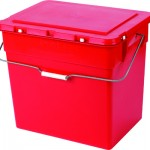 A red hazadous waste box