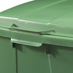 Handles on the side of a green bin with a lid
