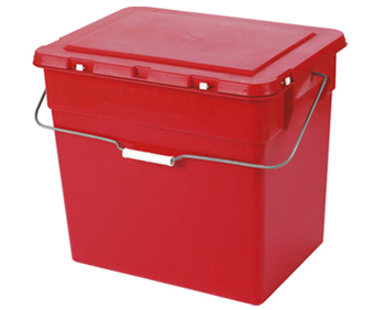 A red box with a lid and handle