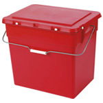 A red box with a handle and lid