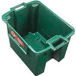 The inside of a green stackable box