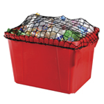 Red recycling box with a net on top to secure contents