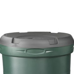 A black lid on top of a green 190 litre water butt