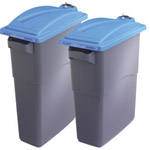 Two secure EcoSort bins with blue lids next to each other