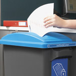 Office bin with a blue lid for paper waste