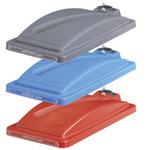 Three different colours of EcoSort bin lid. Grey, blue and red.