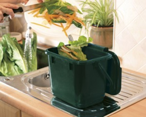 A green kitchen caddy on a kitchen counter