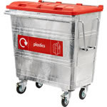 Four wheeled steel bin with a red lid and a plastic recycling label