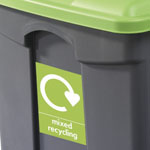 Custom graphic on the front of a step-on bin