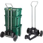 Three boxes stacked on each other on a trolley with wheels