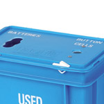 Two holes in the lid of a blue battery box