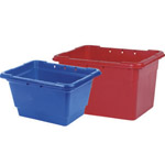 A blue and a red kerbside box next to each other